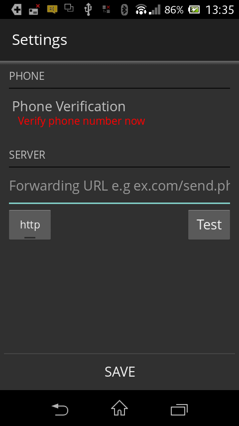 Verify your Phone number and enter server URL