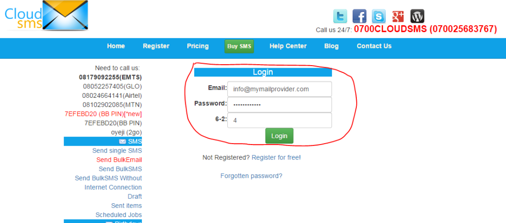 Login to your CloudSMS Account